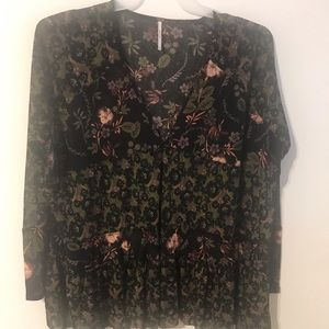 Free People Black Floral Ruffle Bottom Top